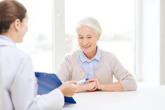 Doctor with elderly patient.