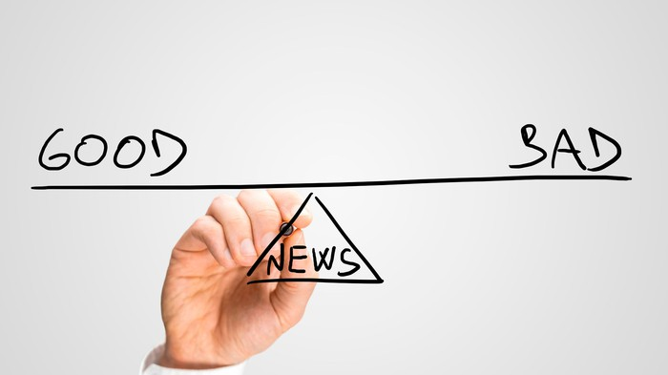 Drawing see-saw with good news and bad news