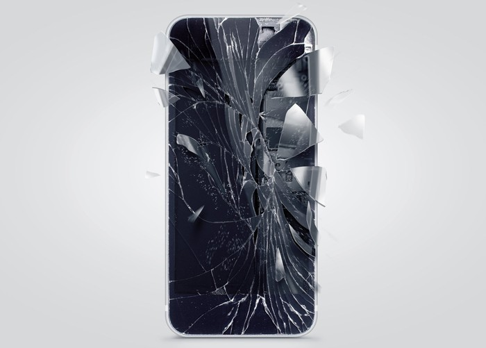 A shattered smartphone