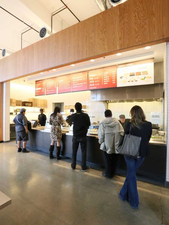 Customers in line at Chipotle.