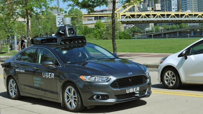 Uber driverless technology on a Ford Fusion.