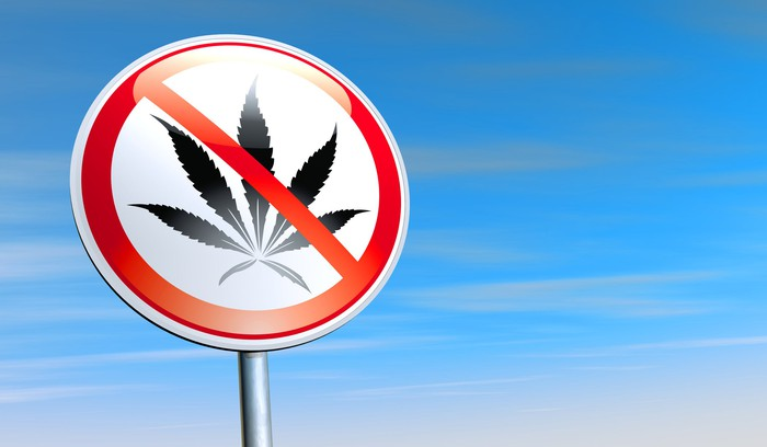 A sign with a marijuana leaf has a cross through it.