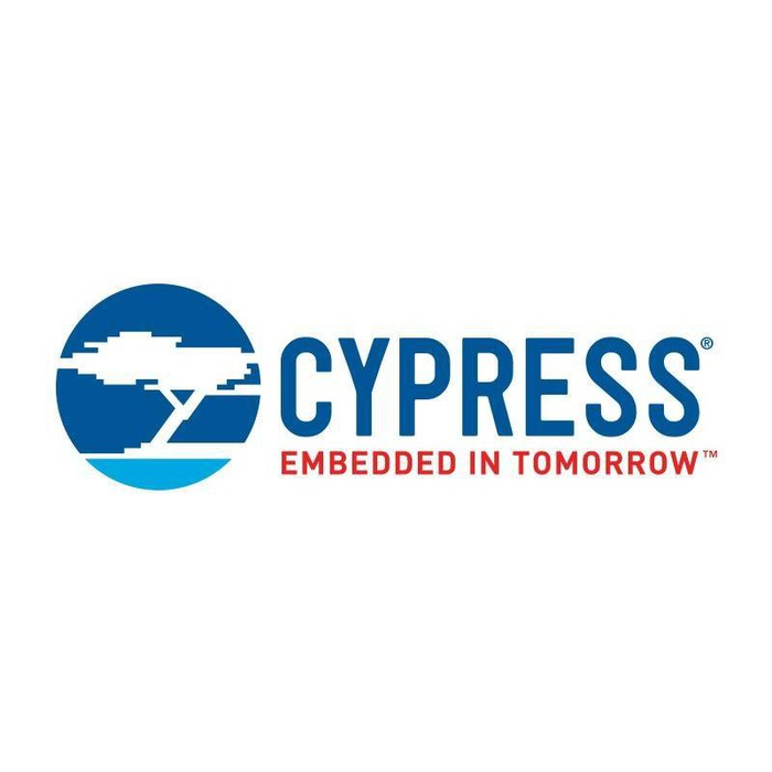 "Cypress Semiconductor logo and tag line that says ""embedded in tomorrow."""