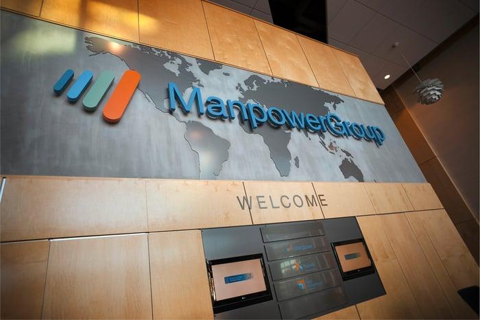 ManpowerGroup's lobby at Milwaukee headquarters.