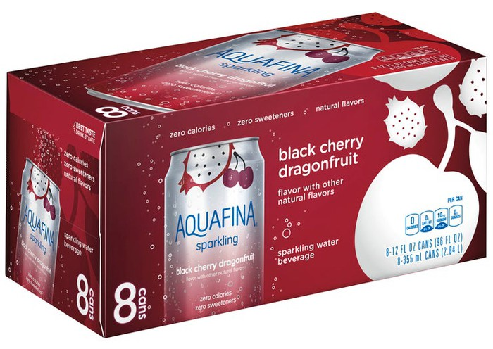 Case of Aquafina Black Cherry Dragonfruit sparkling water cans.