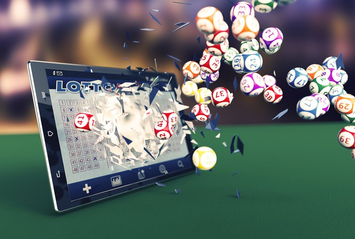 Rendering of lottery balls coming out of a tablet computer.