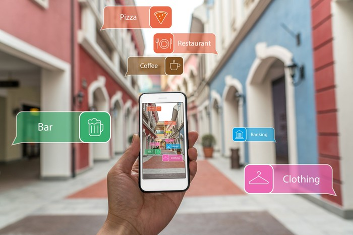 Smartphone using computer vision through a camera lens to identify locations on a street