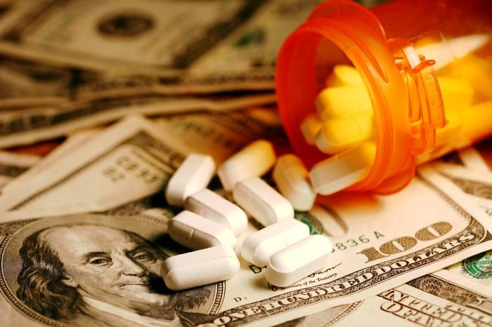 A bottle of prescription drugs spilling on money.