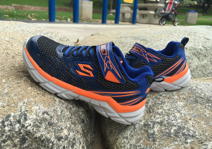 A pair of Skechers shoes.
