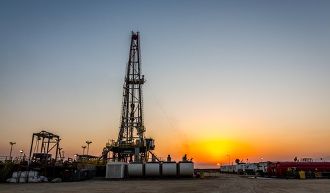 Getty Gas Fracking Rig at Sunset