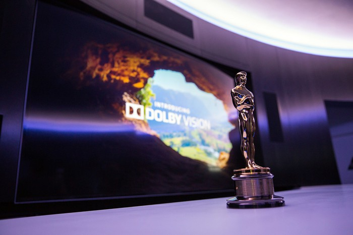 """Oscar statuette in front of a screen with the text: """"Introducing Dolby Vision."""""""