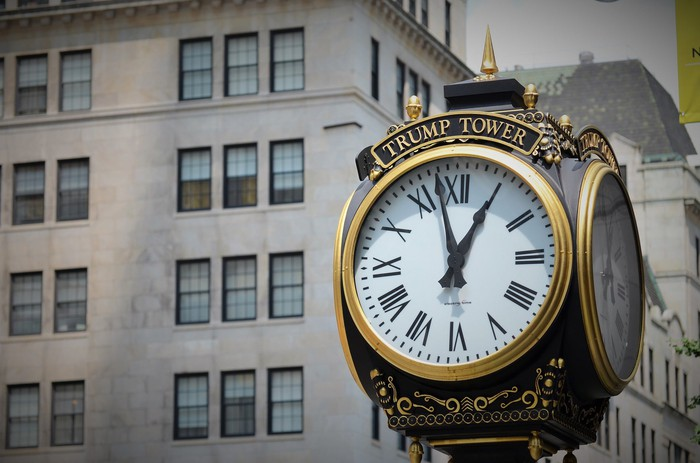 A clock in front of Trump Tower.
