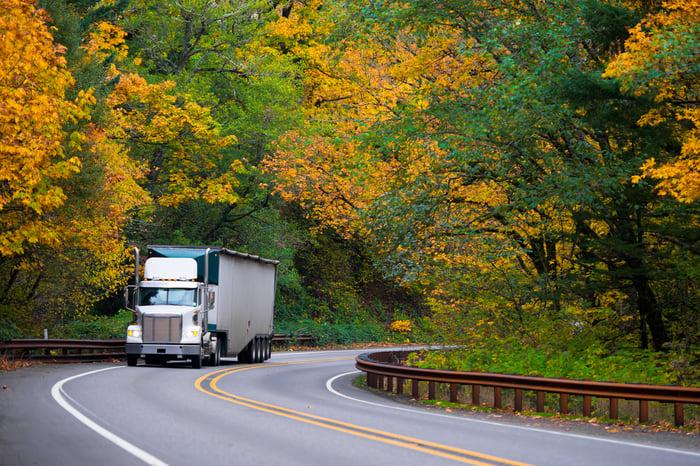 Trailer truck on highway