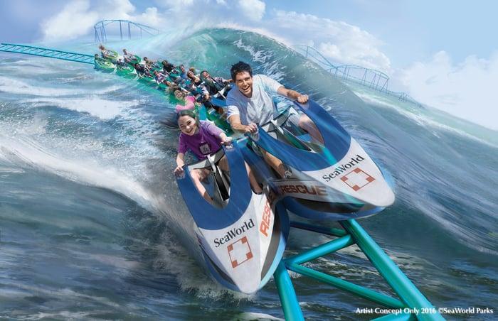 Wave Breaker coaster at SeaWorld San Antonio concept art.
