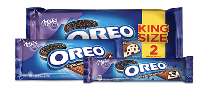 Package of Mondelez's Milk and Oreo cookies in a king size package.