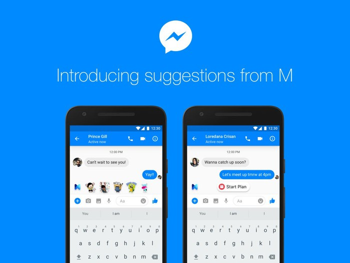 "Image of Messenger app and text reading ""Introducing suggestions from M""."