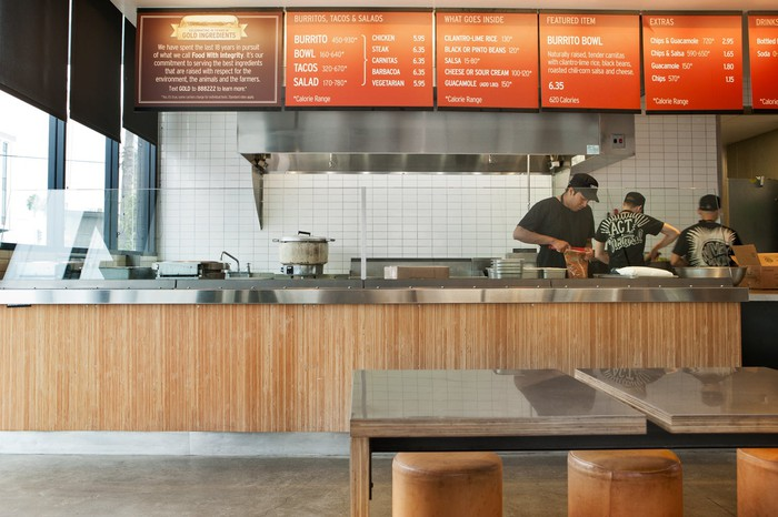 Interior of Chipotle's Sunset and Vine location, in Los Angeles.