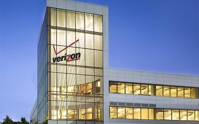 Verizon logo in building.