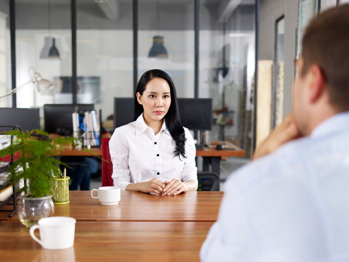 Nervous woman being interviewed