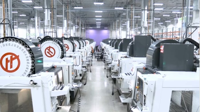 View of many CNS machines in Proto Labs' factory.