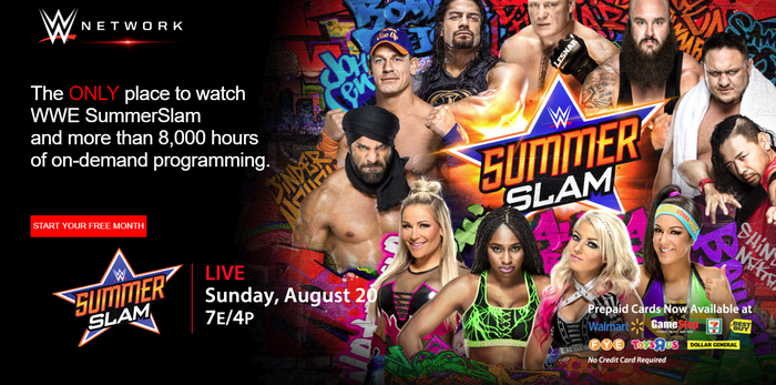 WWE Network Summer Slam 2017 advertisement showing various wrestlers.