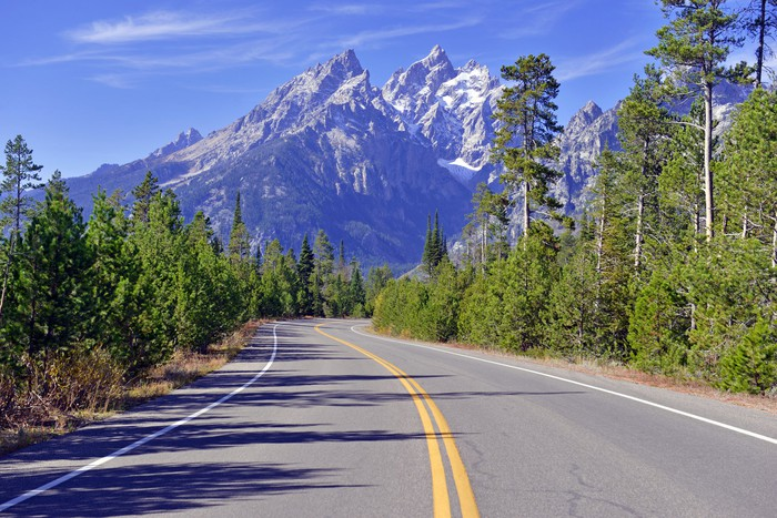 Road in the Teton Range of the Rocky Mountains, Wyoming