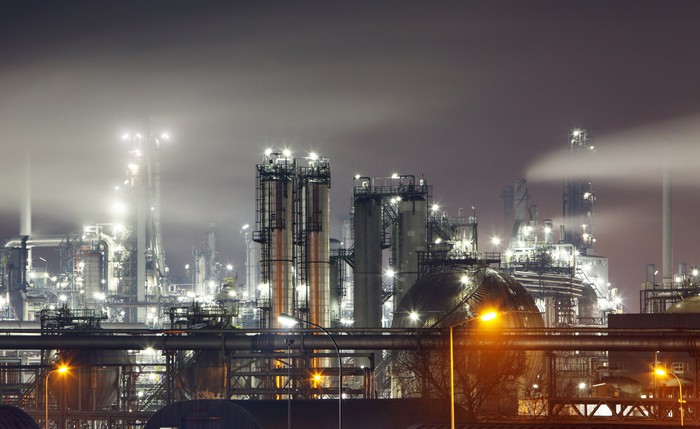 Oil refnery at night