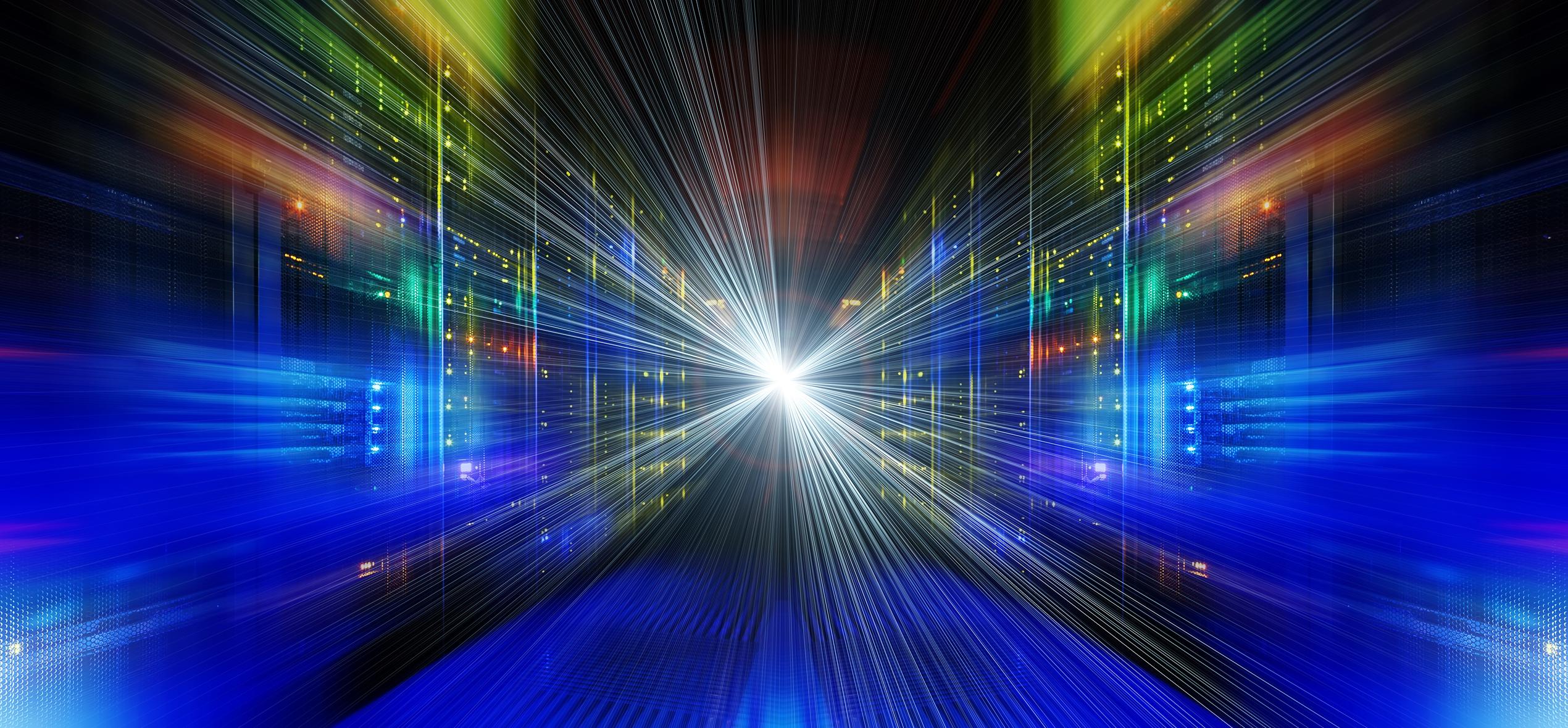 Stylized visualization of a data center