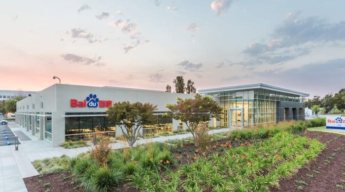Building with Baidu logo across facade.