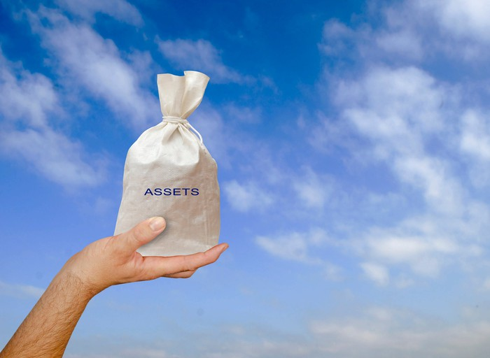 """A hand holds up a bag labeled """"assets"""" against a cloudy sky."""