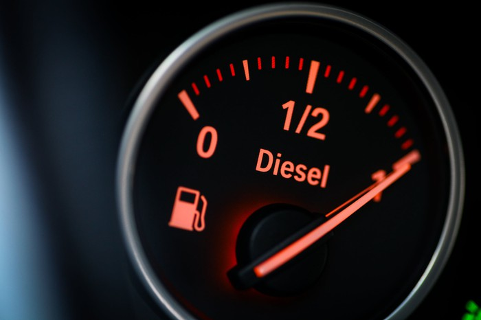 "A vehicle's gas gauge, with the word ""Diesel"" shown and the needle pointing to a full tank."
