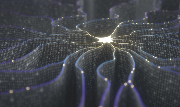 animation showing neural network with lights