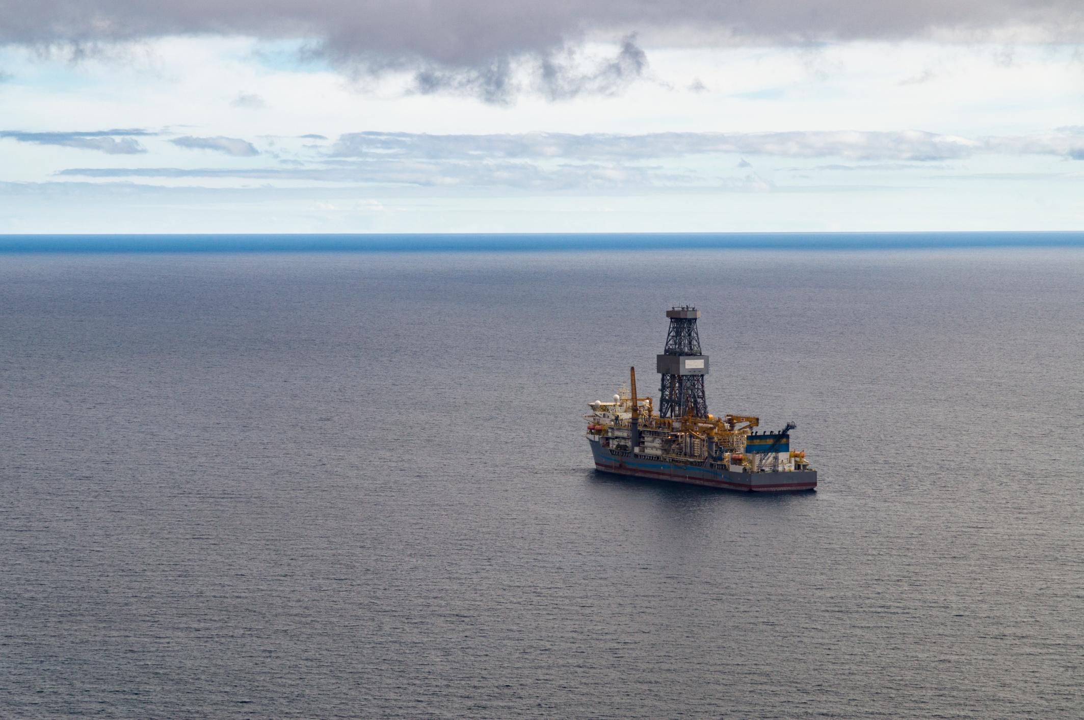 Drill ship at sea
