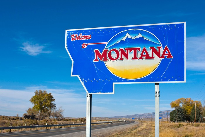 Welcome to Montana sign.