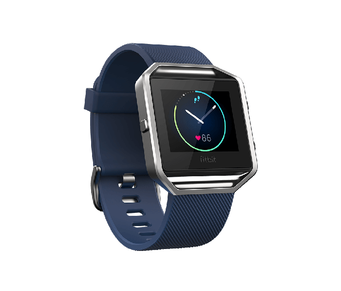 A picture of the Fitbit Blaze fitness tracker with a blue band.