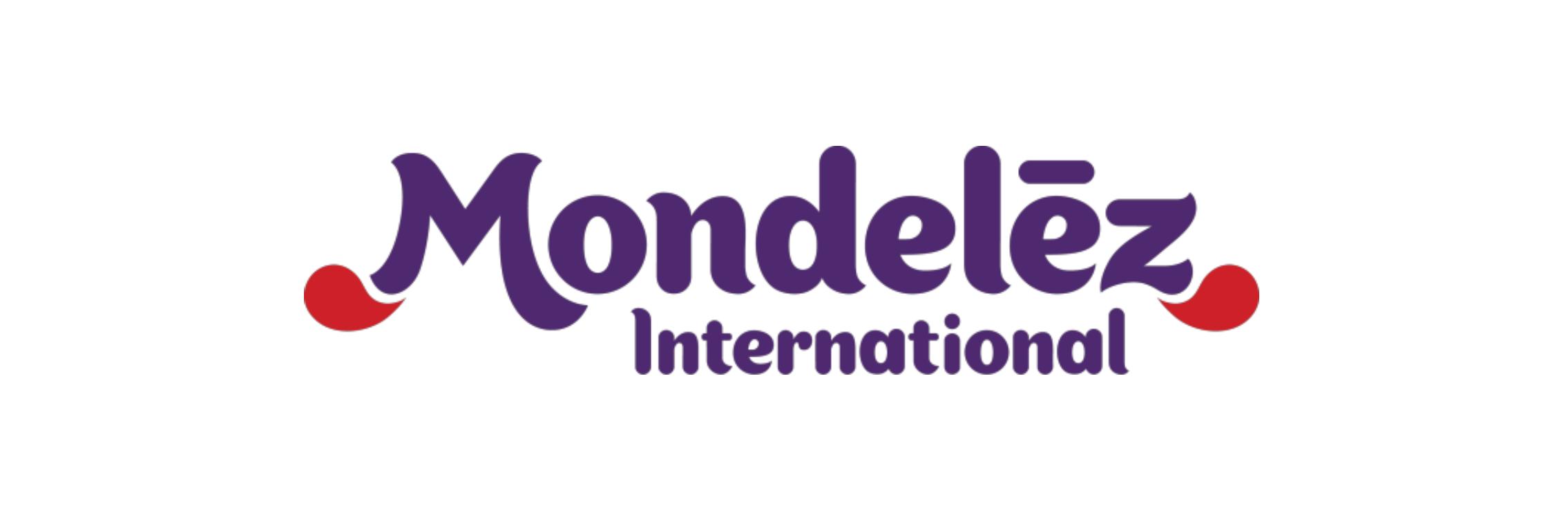 Mondelez International logo written in purple.