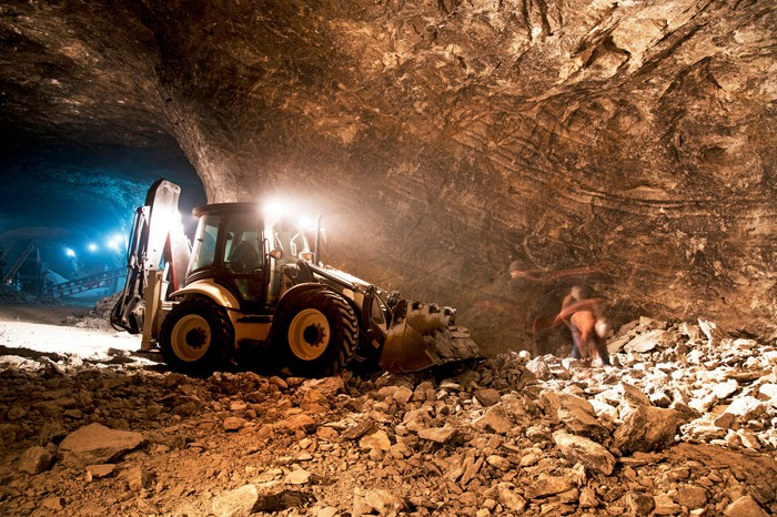 A bulldozer in an underground gold mine.
