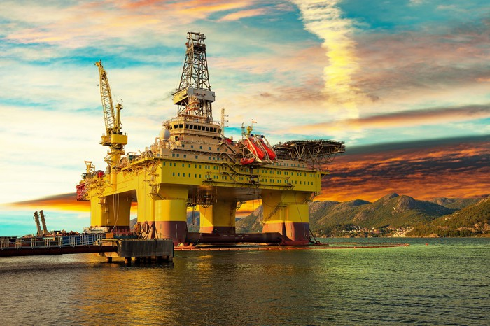 Offshore rig at dock