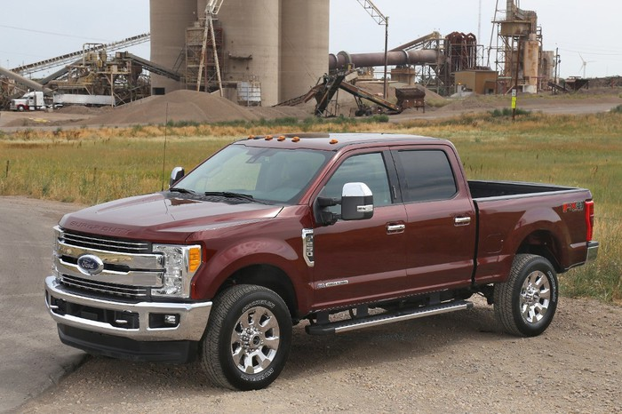 Ford's F-250 Super Duty parked at a construction site.