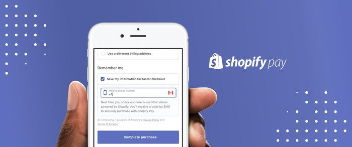 ShopifyPay on a mobile phone.