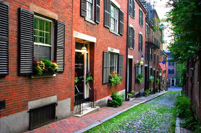 brick row houses on Beacon Hill in Boston