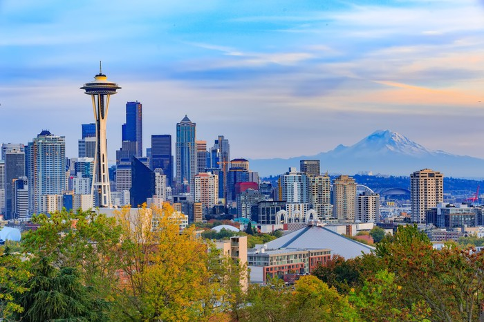 Seattle downtown and Space Needle view, Washington, USA