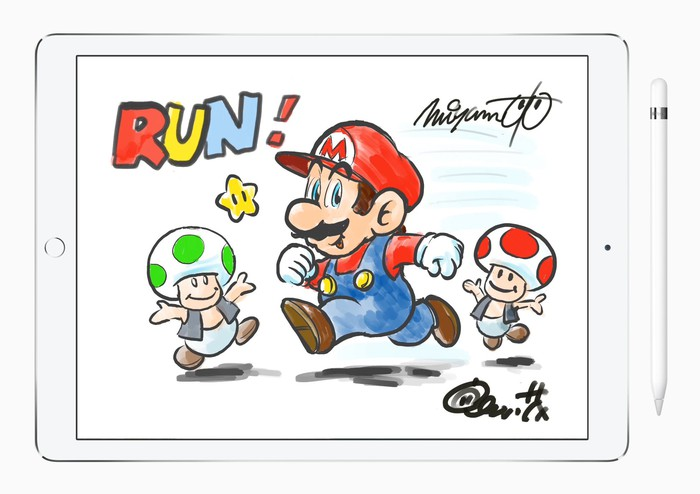 An iPad displaying hand-drawn versions of characters from the Mario universe.