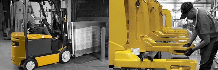 Hyster-Yale lift truck in action, and a row of lift trucks with a worker doing repairs.