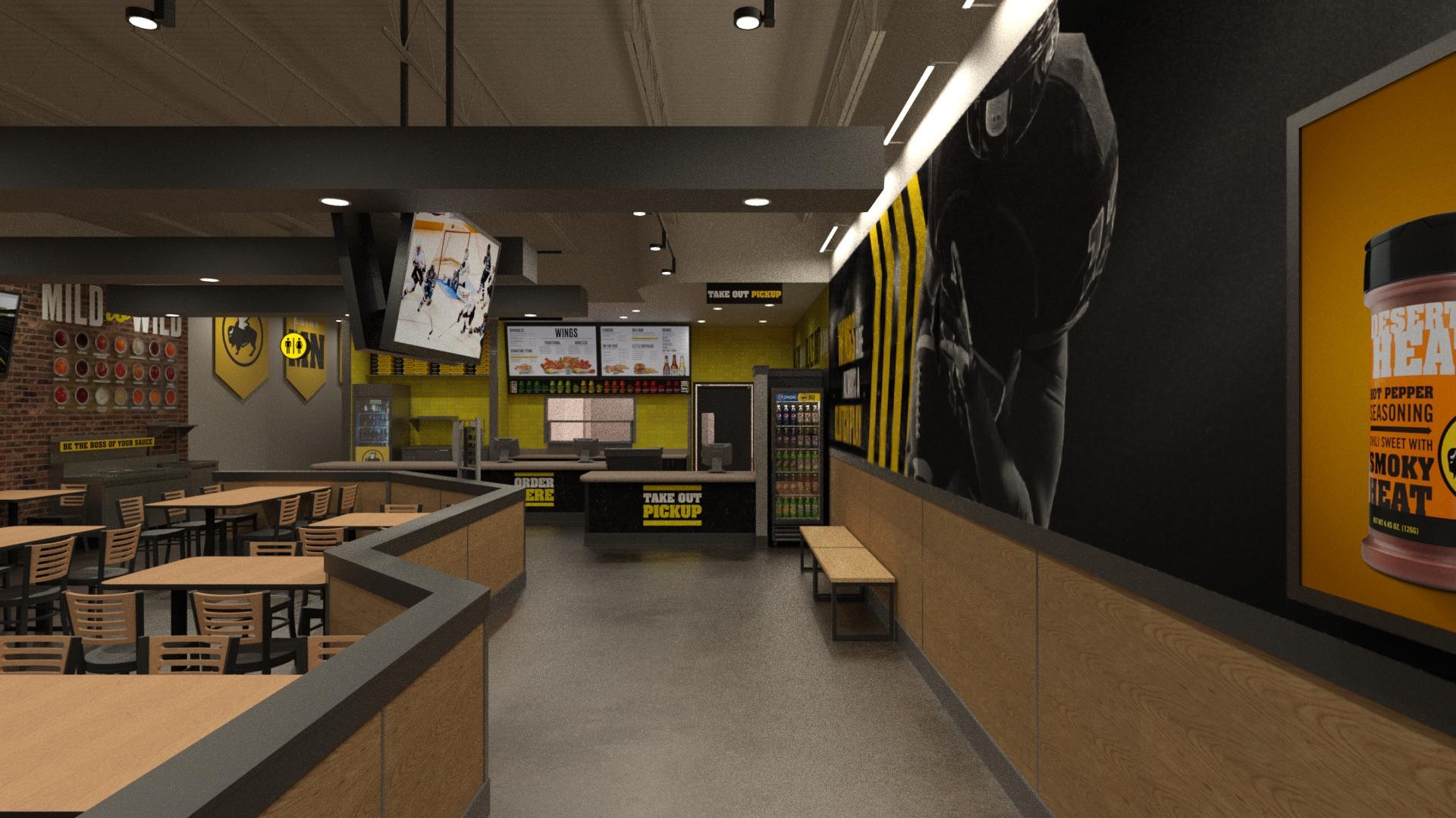 Inside of new B-Dubs Express restaurant
