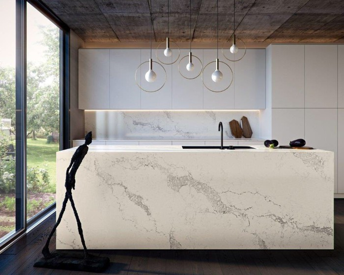 A white countertop produced by Caesarstone.