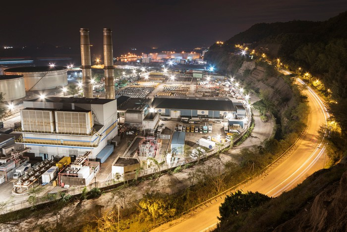 A power generating station at night.