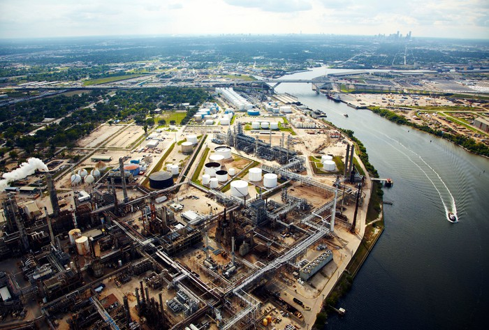 Overhead view of oil refinery and storage terminal