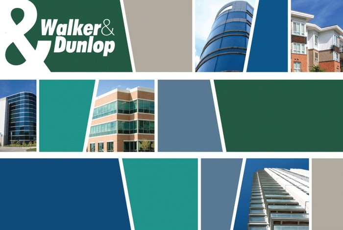 Walker & Dunlop logo and various buildings in the company's portfolio of real estate assets.