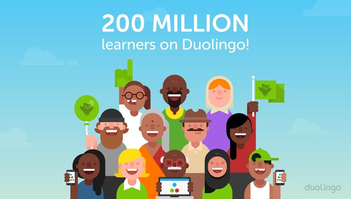 Animated picture of people with caption saying 200 million learners are on Duolingo.